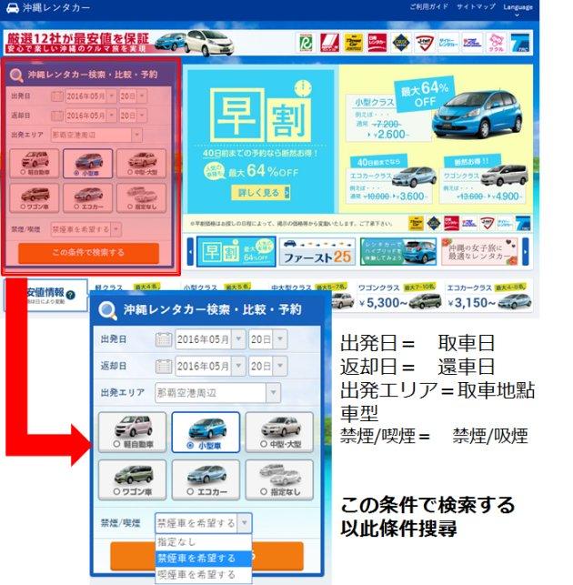 STEP1 首頁:選擇你希望的租車條件並進行搜尋